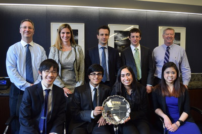 KPMG's International Case Competition (KICC) U.S. champions from the University of Michigan (bottom row, left to right) Keishiro Iwasaki, Jay Parekh, Sonia Thosar, and Chelsea Racelis celebrate their victory with KPMG judges (top row, left to right) Jason Freund, Audit Partner; Becky Sproul, National Managing Partner for University Relations and Recruiting; John Gitas, Advisory Director; Charles Warshaw, Tax Manager; and Blane Ruschak, Executive Director for Campus Recruiting.