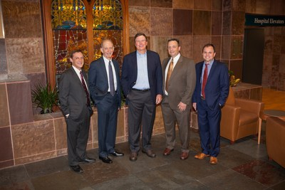 Caption (From left to right): Christian Larsen, MD, DPhil, dean of Emory University School of Medicine and vice president for health center integration in Emory's Woodruff Health Sciences Center; William Bornstein, MD, PhD, chief medical officer and chief quality officer for Emory Healthcare; Jim Kennedy, chairman of Cox Enterprises; John Pattaras, MD, associate professor of urology, Emory University School of Medicine and Peter Rossi, MD, associate professor of radiation oncology, Emory University...