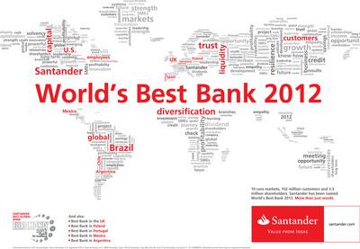 Santander awarded World's Best Bank in 2012 by Euromoney magazine.  (PRNewsFoto/Banco Santander)