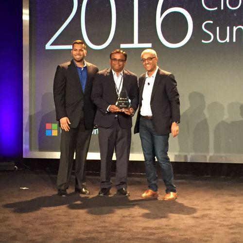 "GlobalOutlook team receiving the ""Business Transformation Award"" from Mr. Aziz Benmalek, ..."