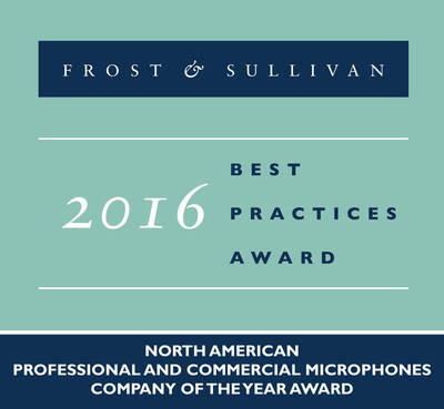 Frost & Sullivan recognizes Shure Incorporated with the 2016 North America Company of the Year Award.