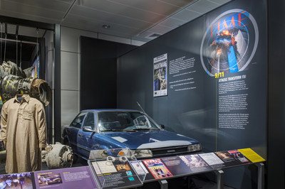 The FBI's mission of combating terrorism is a major focus of the new exhibit, which displays more than 45 new artifacts, including the Toyota Corolla (shown) abandoned by 9/11 hijackers at Dulles Airport outside Washington, D.C., and a Nissan Pathfinder that was rigged with explosives in a failed attempt to bomb Times Square in 2010. The alarm clocks, propane tanks, pressure cooker pot and other components of the homemade bomb will be on display inside the SUV.