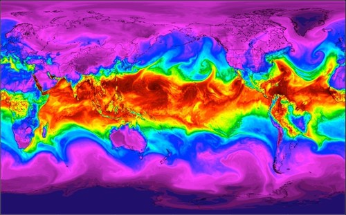 """Forecasted global atmospheric flow depicted by midlevel water vapor."" (PRNewsFoto/Panasonic Avionics ..."