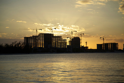 Baha Mar, the $3.5 billion resort enclave, rises from the Bahamian Rivera in this Skyfall-esque shot as it marks completion of the final level - the 25th floor - of The Baha Mar Casino & Hotel.