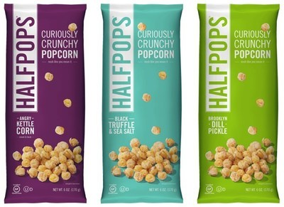 Halfpops are available in seven satisfying varieties - NEW Black Truffle & Sea Salt, NEW Angry Kettle Corn, NEW Brooklyn Dill Pickle, Butter & Pure Ocean Sea Salt, Caramel & Sea Salt, Aged White Cheddar and Chipotle Barbeque. Never fried and made from only non-GMO popcorn and seasonings, Halfpops are gluten-free, nut free, have no preservatives, no corn syrup, no artificial flavors and no hydrogenated oils. Simple ingredients, partially popped and fully delicious.