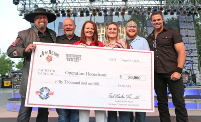 "Country duo Montgomery Gentry teamed up with Beam Inc. at the band's Indianapolis show August 15 to present a $50,000 check to Operation Homefront in support of the nation's military service members and their families. Eddie Montgomery and Troy Gentry were joined by fellow Kentuckian, Frederick ""Fred"" Booker Noe III, seventh generation Beam master distiller, Operation Homefront COO Amy Palmer, Army Spec. Dustin Foraker and his wife, Heather Foraker. Since Dustin returned home after sustaining injuries in Afghanistan, the Forakers have received housing and financial assistance from Operation Homefront. Beam has donated $100,000 to the organization this summer.  (PRNewsFoto/Beam Inc.)"