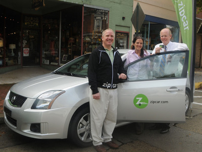 Zipcar's Philadelphia General Manager Peter Bruvik, left, shows off one of Collingswood's new Zipcars to borough Commissioner Joan Leonard, center, and Collingswood Mayor James Maley in front of the new Zipcar parking spot at Haddon and Collings Avenues.(PRNewsFoto/Zipcar, Inc., Curt Hudson)