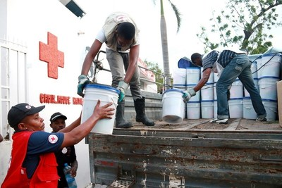 Supplies are delivered to the Haitian Red Cross in response to Hurricane Matthew.