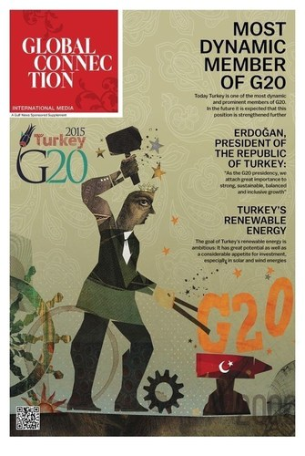 "Edited by Global Connection, the first issue of ""G20 in Turkey"", the official publication of G20, has been published on 17 October 2015 together with The Daily Telegraph in the UK, subsequently on 19 October 2015 with Komsomolskaya Pravda and Kommersant in Russia, with Gulf News in the United Arab Emirates, with Die Welt and Welt Kompakt in Germany, and on 20 October 2015 with Le Figaro in France. The paper will subsequently be published featuring new content on 9 November 2015 with Komsomolskaya Pravda and Kommersant in Russia. G20 news contents will also be found in their entirety on important online sites such as  www.kp.ru ,  www.welt.de and  www.lemonde.fr . (PRNewsFoto/Global Connection Media S.A.) (PRNewsFoto/Global Connection Media S.A.)"