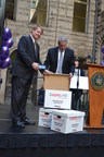 Verizon's HopeLine phone drive kicked off in Pittsburgh as Allegheny County Executive Rich Fitzgerald, joined by Verizon's William Carnahan, donated the inaugural phone.