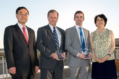 AventaMed and Prospiria, Inc. win $50K each in pediatric medical device competition hosted by the Sheikh Zayed Institute for Pediatric Surgical Innovation at Children's National Health System. (L to R) Peter Kim, MD, Ph.D., Sheikh Zayed Institute; John Vaughan, AventaMed; Donald S. Prough, MD, Prospiria, Inc.; Kolaleh Eskandanian, PhD, Sheikh Zayed Institute. Photo: Kaveh Sardari