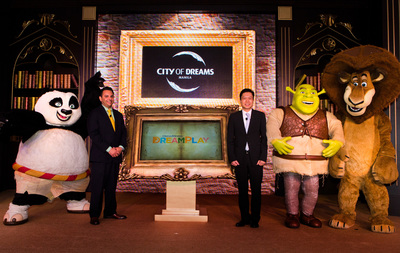 DreamWorks Animation's beloved characters Po from Kung Fu Panda; Shrek; and Alex the Lion from Madagascar, join executives Mr. Clarence Chung Chairman and President of Melco Crown Philippines and Mr. James Clark, Head of Retail Development and Entertainment for Asia Pacific of DreamWorks Animation, at the official announcement of the DreamPlay edutainment center at City of Dreams Manila. (PRNewsFoto/Melco Crown Philippines)