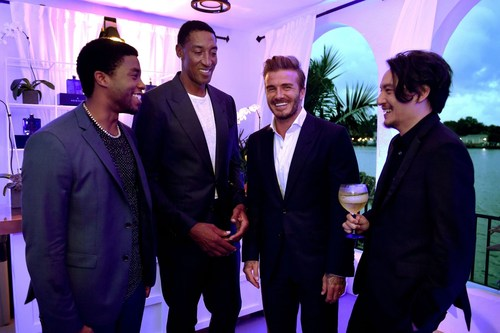 Chadwick Boseman, Scottie Pippen, David Beckham & Chang Chen at HAIG CLUB Miami (PRNewsFoto/HAIG CLUB) ...