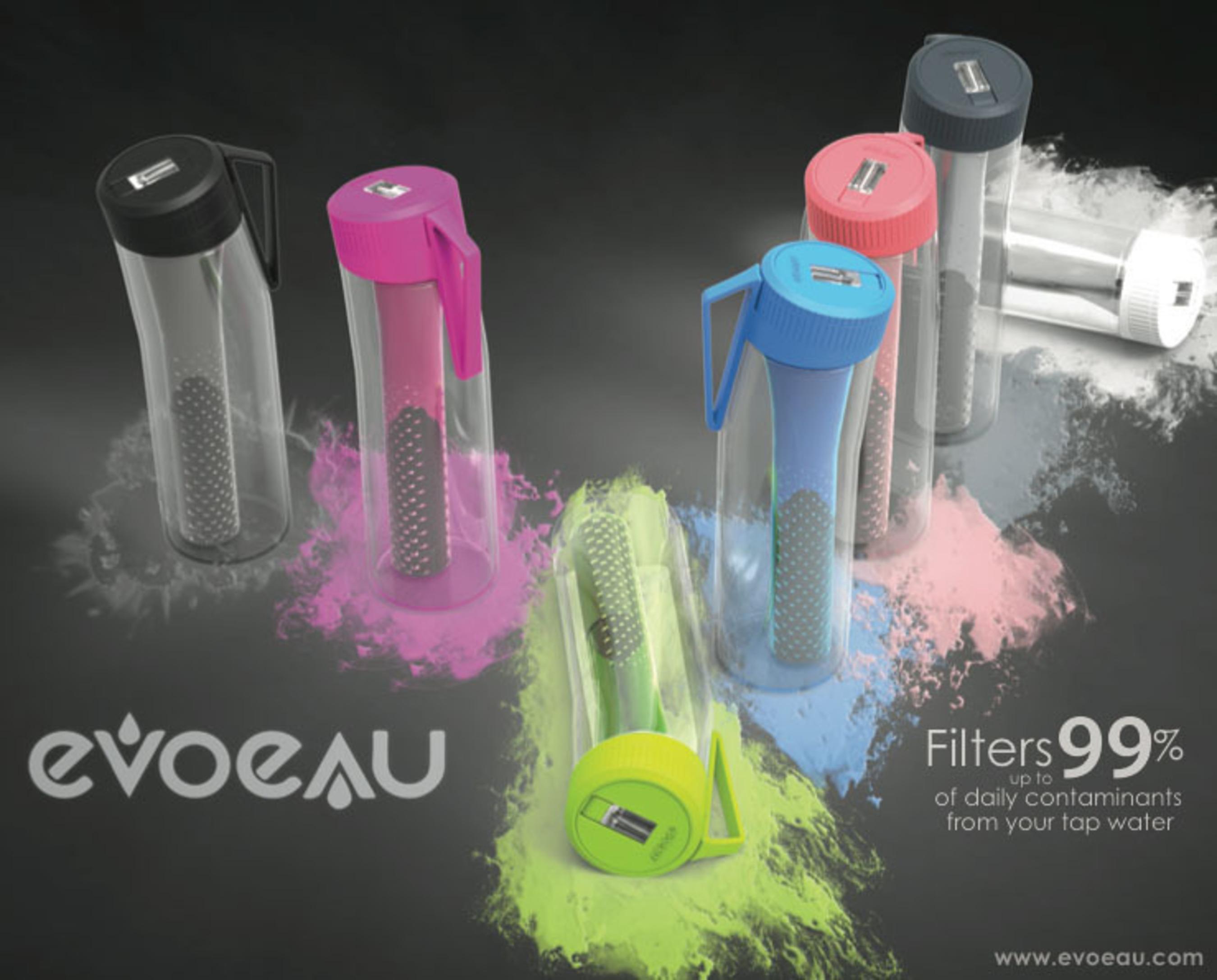 Evo Eau Filtration bottles remove up to 99% of contaminants in 7 stylish colors!. (PRNewsFoto/Evo Eau) (PRNewsFoto/EVO EAU)