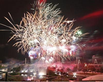 Wolfsburg 01 June 2015 - The Autostadt celebrated its 15-year anniversary with spectacular fireworks. The iconic Car Towers can be seen in the background (Autostadt GmbH/Matthias Leitzke) (PRNewsFoto/Autostadt GmbH)