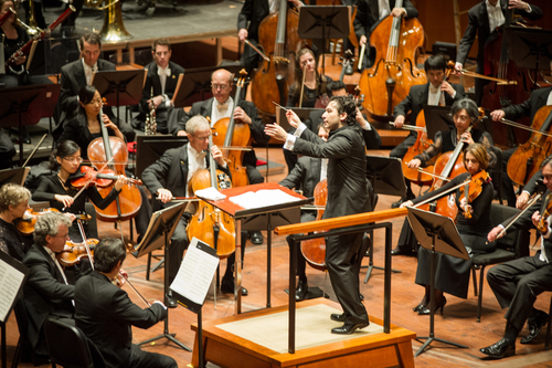 Music Director Designate Andres Orozco-Estrada leading the Houston Symphony. A dynamic young conductor, intensely musical and technically consummate, Orozco-Estrada's inaugural season as Music Director begins with the 2014 - 2015 season. (PRNewsFoto/Houston Symphony)