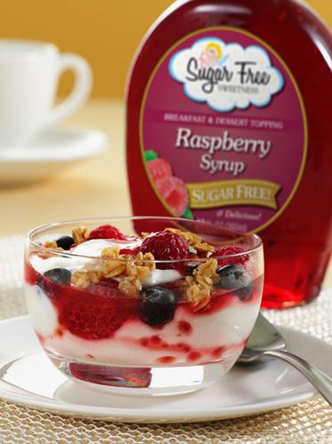 Raspberry Yogurt Parfait with Sugar Free Sweetness Raspberry Syrup.  (PRNewsFoto/Blackberry Patch)