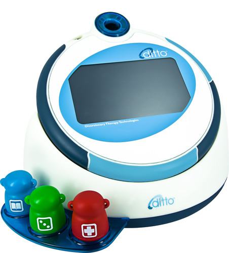 The dittoT from DTT is a device that is proven to reduce stress and anxiety in pediatric patients when they are undergoing a treatment or procedure.  (PRNewsFoto/Diversionary Therapy Technologies)