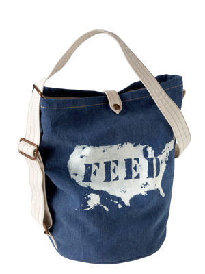 Gap and FEED Projects today launched its FEED USA limited edition bag collection. Rolling out today in stores nationwide, Gap will donate $5 for every FEED USA bag sold to help improve food and nutrition education for more than 76 million school children. The limited edition bags - exclusively co-designed for Gap by Lauren Bush and Patrick Robinson - are a mix of denim and canvas looks including the FEED USA Denim Bucket Bag [$39.50] pictured here.  (PRNewsFoto/GAP Inc.)