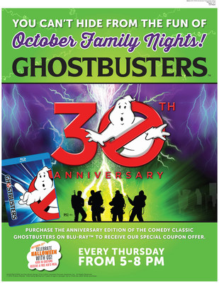 Ryan's, HomeTown Buffet, and Old Country Buffet are adding some spooky fun to Family Night by partnering with Ghostbusters. All 324 restaurants will feature Ghostbusters-themed activities every Thursday night in October.  The restaurants are also celebrating the 30th anniversary of the cult film classics, Ghostbusters I and II, which were released on Blu-ray as special anniversary editions and feature a $3-off dinner coupon good at any of the family-style restaurants. (PRNewsFoto/Ovation Brands)