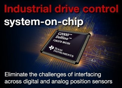 New C2000™ Delfino™ MCUs and DesignDRIVE Position Manager technology eliminate challenges of interfacing with position sensors in industrial servo and AC inverter drives