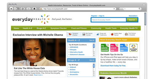 Exclusive Michelle Obama interview unveiled today on EverydayHealth.com with healthy White House recipes.  (PRNewsFoto/Everyday Health, Inc.)