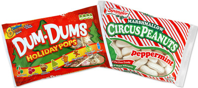Spangler Candy Company launches limited edition, holiday flavors in two of its most iconic brands: New Dum Dums(R) Holiday Pops and Peppermint Marshmallow Circus Peanuts. (PRNewsFoto/Spangler Candy Company) (PRNewsFoto/SPANGLER CANDY COMPANY)