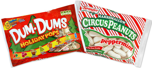 Spangler Candy Company launches limited edition, holiday flavors in two of its most iconic brands: New Dum Dums(R) Holiday Pops and Peppermint Marshmallow Circus Peanuts.  (PRNewsFoto/Spangler Candy Company)