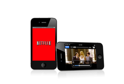 The photo shows a movie being instantly streamed from Netflix on the Apple iPhone, available in August 2010.  (PRNewsFoto/Netflix, Inc.)