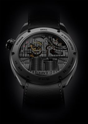 HYT SKULL BAD BOY: to be seen at Baselworld 2016, Location: Palace, Booth 3A This hydro-mechanical watch has an opaque black fluid indicating the hours. The capillary measures less than one millimetre in diameter and has four angles, two of which are almost 90 degrees at the base. 65-hour power reserve. 50-piece limited edition http://www.hytwatches.com/collection-skull/watch/skull-badboy/ (PRNewsFoto/HYT Watches)