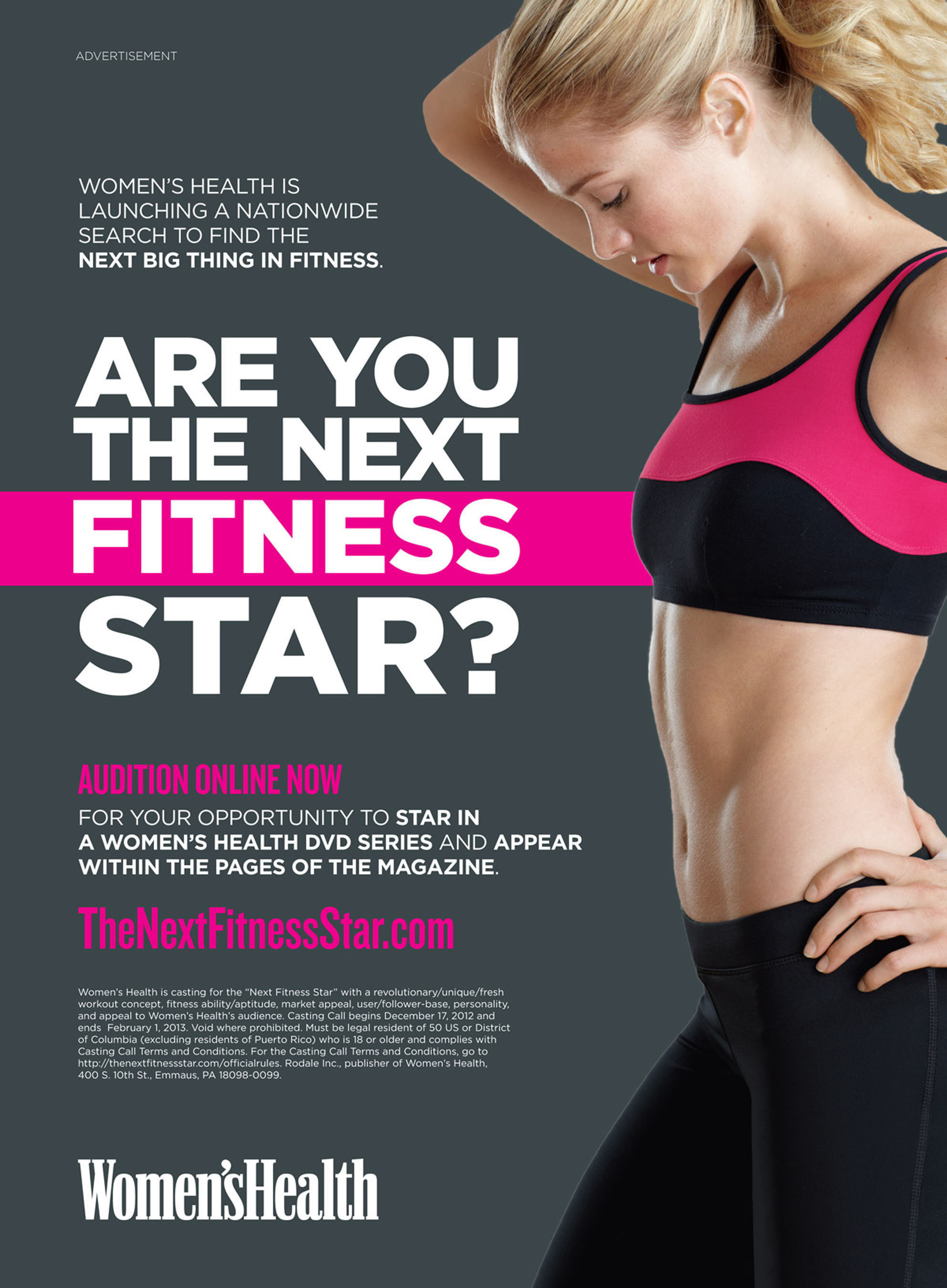 Women's Health Search for the Next Fitness Star.  (PRNewsFoto/Women's Health)