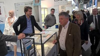 David De Munter (Bedal) and minister of health, Jo Van Deurzen at the Medica fair, November 2015. (PRNewsFoto/BEDAL NV)