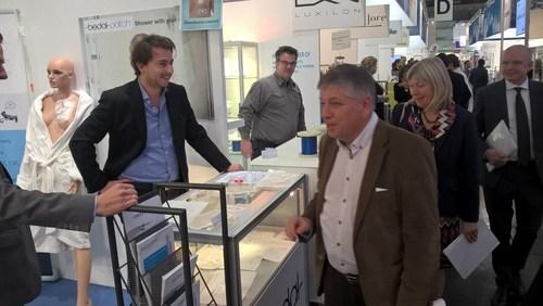 David De Munter (Bedal) and minister of health, Jo Van Deurzen at the Medica fair, November 2015. ...
