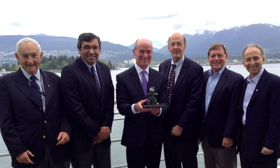 Dr. Alvin Zipursky, Dr. Zulfiqar Bhutta, Dr. Mark Kline, Dr. Roger Glass, Dr. Bob Black, and Dr. Stanley Zlotkin at the Pediatric Academic Socieities / Asian Society for Pediatric Research Joint Meeting in Vancouver, British Columbia, Canada where Dr. Mark Kline from Texas Children's Hospital was presented with the Program for Global Pediatric Research Award for Outstanding Contributions to Global Child Health 2014. (PRNewsFoto/Texas Children's Hospital)