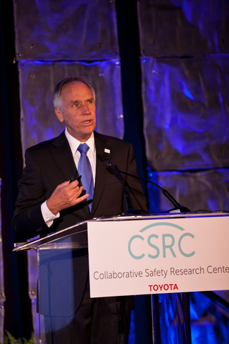 Chuck Gulash, Toyota Collaborative Safety Research Center Director announces new collaborative partnerships and projects at the Toyota Safety Research Forum in Washington DC on September 12, 2012.  (PRNewsFoto/Toyota)