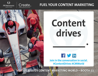"Join the conversation at #CMWorld 2014 by filling in the blank ""#ContentDrives ___"" on Twitter. (PRNewsFoto/PR Newswire Association LLC)"
