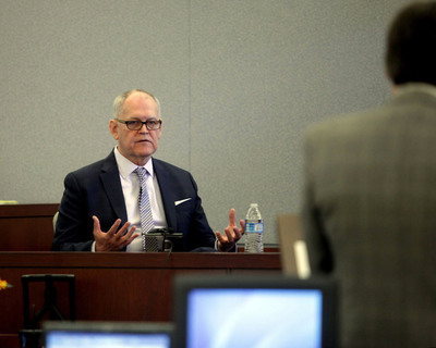 Wendell Potter, former VP of Communications for healthcare giant Cigna, took the stand today in the trial for the role of the Health Plan of Nevada in the largest hepatitis C outbreak in U.S. history. Potter testified the 1st objective of the HMO is to enhance stock holder value.  (PRNewsFoto/SCM)