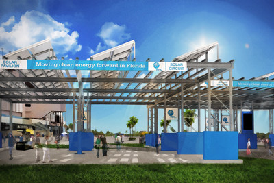 Florida Power & Light Company is partnering with Daytona International Speedway to accelerate clean energy with the FPL Solar Circuit. This rendering shows one of three solar structures that will add 2.1 megawatts of solar energy in 2016 as part of the DAYTONA Rising redevelopment project.