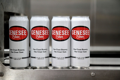24-ounce cans of Genesee beer roll off the new $3.5 million production line at The Genesee Brewery. (PRNewsFoto/The Genesee Brewery)