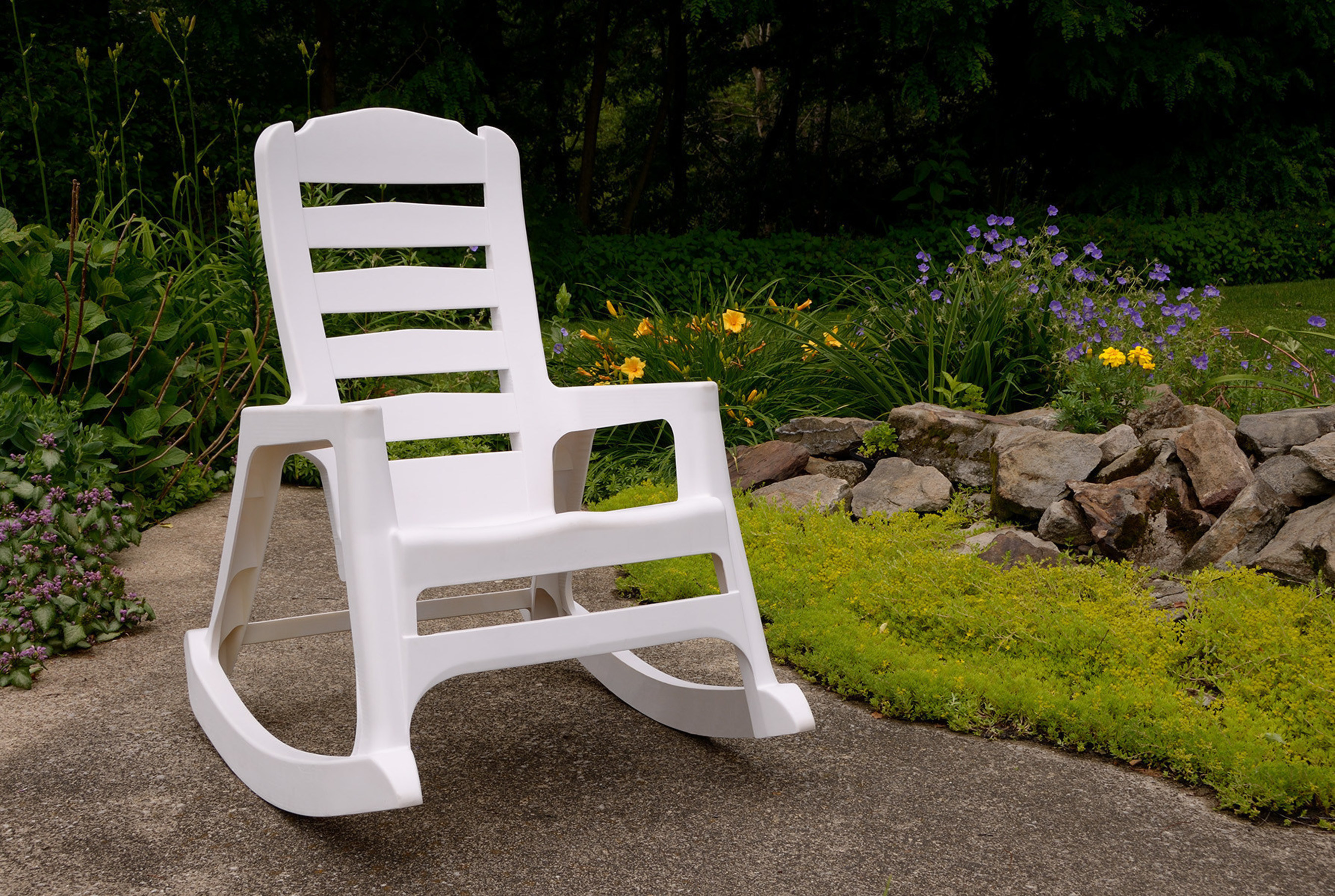 ASTM-rated to hold 350lbs., Adams' Big Easy(TM) Stacking Resin Rocking Chair recalls the carefree days of summer, blending the best qualities of resin into an iconic favorite. An industry first due to its innovative stackable resin design, Adams' Big Easy(TM) Stacking Resin Rocking Chair delivers the look, strength and functionality of more expensive traditional wooden and polyethylene rockers, but at a fraction of the cost.