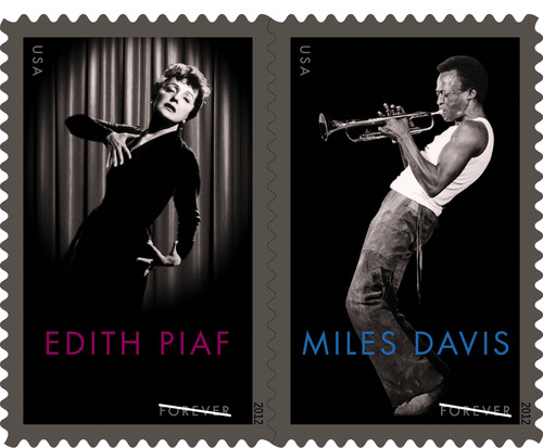 The U.S. Postal Service today proudly presents music legends Miles Davis and Edith Piaf on stamps.  (PRNewsFoto/U.S. Postal Service)