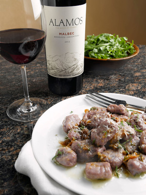 Alamos Malbec paired with Purple Potato Gnocchi with Pork Belly and Sage Butter.  (PRNewsFoto/Alamos Wines)