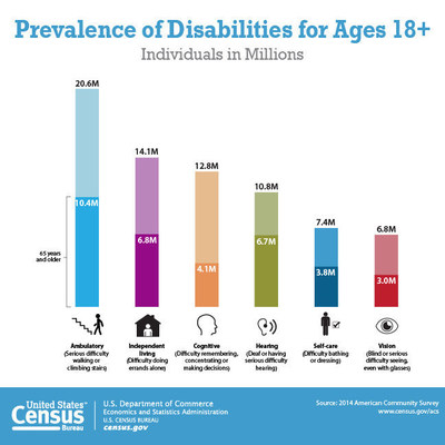 A graphic showing the number of individuals with specific disabilities by age.