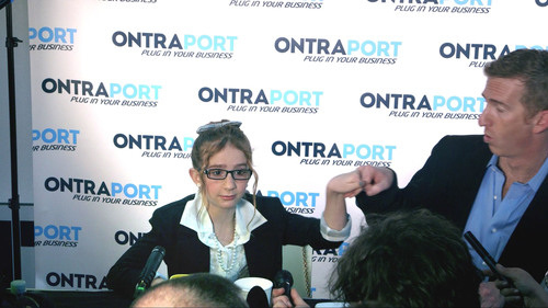 Girl CEO Phoebe Ray may be just nine (and a half), but she's bringing energy, an open mind and her Dad, CEO Landon Ray, along to make sure ONTRAPORT is innovative, cutting edge and constantly building new relationships.  (PRNewsFoto/ONTRAPORT)
