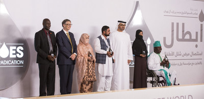 ABU DHABI, UNITED ARAB EMIRATES - December 6, 2015: Bill Gates, Co-chair, Bill & Melinda Gates Foundation (2nd L), and HH Sheikh Mohamed bin Zayed Al Nahyan, Crown Prince of Abu Dhabi and Deputy Supreme Commander of the UAE Armed Forces (5th L), stand for a photograph with winners of the Heroes of Polio Eradication (HOPE) awards during the HOPE awards ceremony at Al Mamoura. Seen with Constant Dedo, a polio consultant with the World Health Organization (L), Freeda, a health worker in Baluchistan...