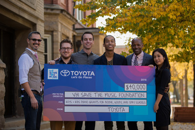 From left to right: Pablo Guzman, Assistant Principal at John Spry Community School; Michael Block, Music Teacher at John Spry Community School; Tyler McBride, Engagement Marketing Manager at ​Toyota; Sir the Baptist; Evan Plummer, Chicago Public Schools​ Director of Arts Education​; Chiho Feindler, Senior Director of Policy and Programs at VH1 Save the Music Foundation