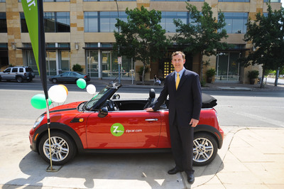 Zipcar President and COO Mark Norman officially launches Zipcar's car sharing program in the City of Austin, Texas, on April 27, 2012.  (PRNewsFoto/Zipcar, Inc.)