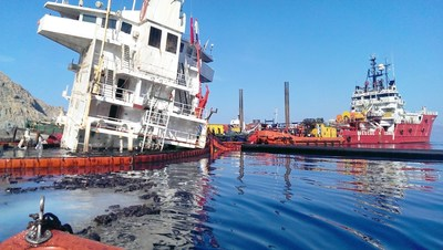 Sea Diamond Incident, Polyeco Group Tier 3 oil spill response operation, Santorini, Greece. (PRNewsFoto/Polyeco Group)