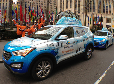 "SeaWorld Orlando kicks off its ""Epic Voyage"" campaign in New York City. Street teams will roam the cities in wrapped, Antarctic-themed Hyundai Santa Fes and Sonata Hybrids as they mingle with locals at various hot spots, commuter stations and key landmarks.  (PRNewsFoto/SeaWorld Orlando)"