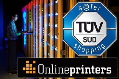 Safe shopping at the online print shop: Description: The internationally recognised TÜV seal s@fer-shopping confirms: With tested quality, security and transparency, the European online shops of the German online print shop Onlineprinters are trustworthy to a high degree. Copyright: Onlineprinters / iStockphoto